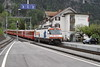 """4 May 2007 :: RhB Ge 4/4 III  no. 641 """"Maienfeld"""" is passing the Hotel Grishuna at Filisur with a St. Moritz to Chur train"""