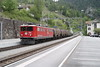 """4 May 2007 :: Ge 6/6 II no. 706 """"Disentis/Mustér"""" an articulated Bo Bo Bo locomotive is arriving at Filisur with a freight service"""