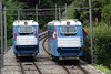 14 August 2007 :: Passing cars on The Funicolare Locarno / Madonna del Sasso (FLMS) the funicular railway in Locarno