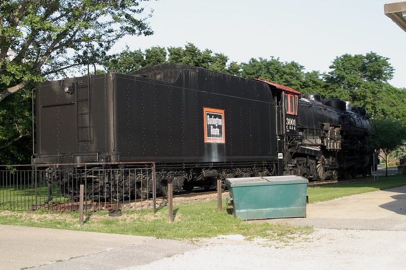 11 June 2007 :: On display at Ottumwa station is this 4-6-4 1930 built Baldwin which was owned by The Chicago, Burlington and Quincy Railroad