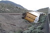 13 June 2008 :: The remains of a derailment that occurred on 8 October 2007 in Black Canyon near Ashcroft when a number of auto carriers came off the tracks