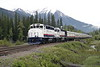 11 June 2008 :: The Rocky Mountaineer led by GP40-2 locomotives 8015 + 8016 are just about to cross the highway outside Banff Station