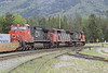 8 June 2008 :: Departing west from Jasper are Canadian National C44-9W no. 2512 + SD60F no. 5511 + C44-9W no. 2616