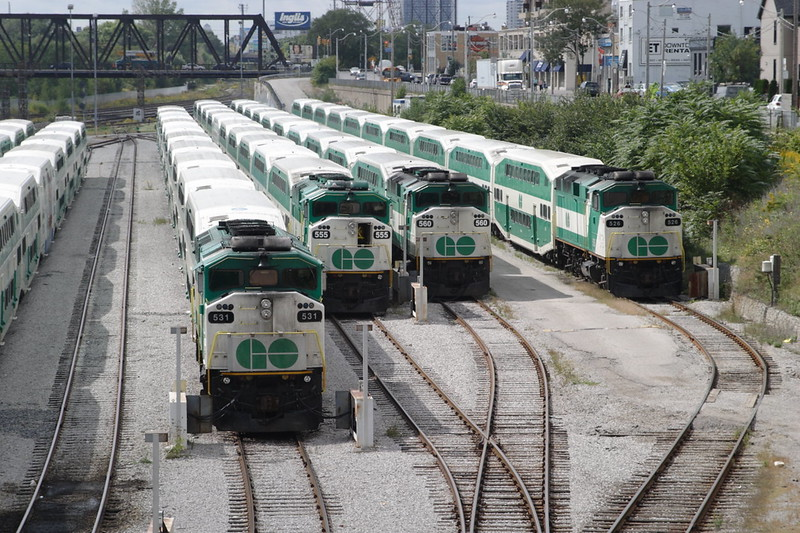 16 September 2008 :: The sidings near Toronto Union Station have 4 GO (Government of Ontario) General Motors EMD F59PH's no.s stabled, 531, 555, 560 & 526
