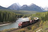 24 September 2008 :: With a wave from the driver of Canadian Pacific AC44CW no. 9625 with 9803 (also a AC44CW) as they round Morants Curve with a train of empty wagons. This is a superb location in the Canadian Rockies near Lake Louise alongside The Bow River