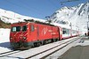 """12 February 2008 :: MGB HGe  4/4 ii  no. 104 """"Furka"""" with a Glacier Express stops at Nätschen in order for another train to clear the single line section"""