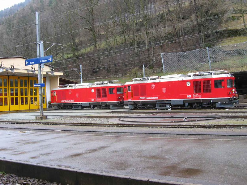 "10 April 2008 :: Stabled at Poschiavo are  two RhB Gem 4/4 locomotives, 802 ""Murmeltier"" & 801 ""Steinbock"".  These are only electro-diesel locomotives able to work the whole of the RhB system"