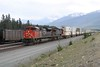14 June 2009 :: An eastbound double stack intermodal train crawling through Jasper with SD70M-2 no. 8826 + C44-9WL no. 2500