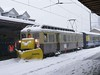 17 February 2009 :: Snow plough fitted Berner Oberland Bahnen BDeh 4/4 no. 303 is slowly making its way through Interlaken Ost