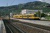 18 July 2009 :: Departing from Vevey is a train in a special 'Le Train des Vignes' livery heading for Puidoux-Chexbres