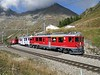 """28 September 2009 :: Departing from Alp Grüm is  Rhb ABe 4/4 ii no. 53 """"Tirano"""" + 51 in UNESCO livery with a train for Tirano"""