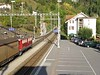 """28 September 2009 :: An elevated view at Filisur where Ge 6/6 no. 701 """"Raetia"""" heads away with a southbound freight train.  Also featured is the Hotel Grischuna a great place to stay to explore the railways in the area"""