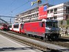 30 September 2009 :: In Glacier Express livery, RhB Ge 4/4ii no. 651 arriving at  Chur with a Glacier Express from Zermatt.  The locomotive will run round the train before proceeding with the train to St. Moritz