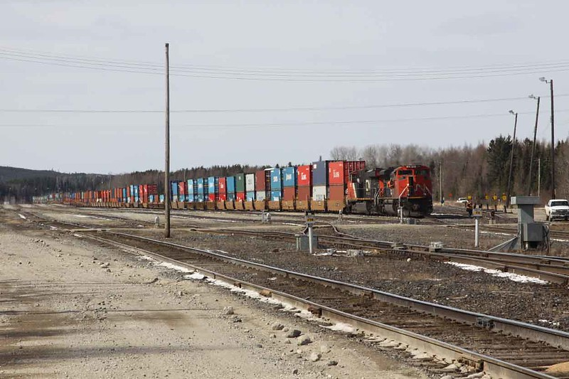 26 March 2010 :: Waiting in the sidings at Hornepayne is a double stack intermodal train led by Canadian Nation SD70M-2 no. 8014