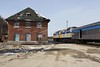 26 March 2010 :: Train 1, The Canadian is stopped by the derelict station buildings in Hornepayne.  The locomotives are Via Rail F40PH-2 no.s 6407 + 6449
