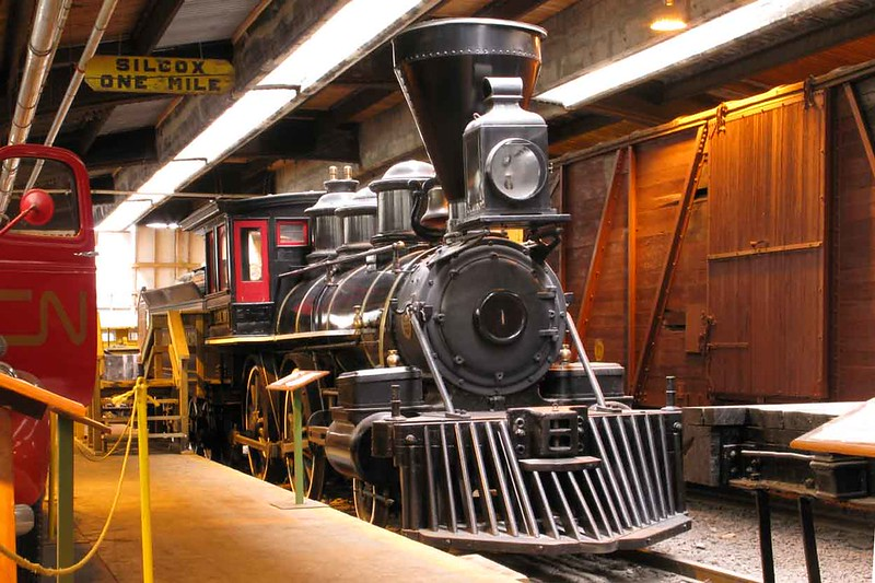 """27 March 2010 :: Seen inside a railway museum in Winnipeg Station is this 4-4-0 steam locomotive """"Countess of Dufferin"""" built in 1872 by Baldwin"""