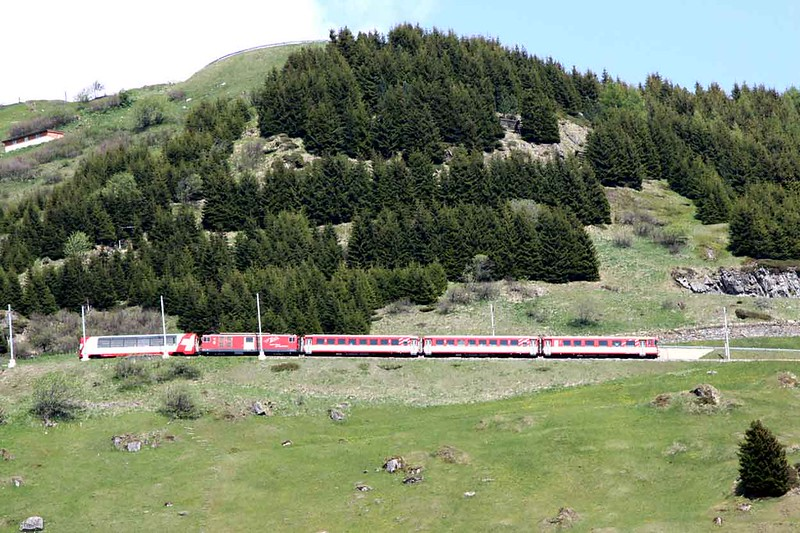 "18 May 2011 :: MGB Deh 4/4 no. 92 ""Realp"" propels a local train down the hillside from Nätschen to Andermatt"