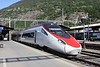 18 May 2011 :: An SBB RABe 503 (formerly the Cisalpino Mk2 tilting ETR.610 Nuovo Pendolino) making a call at Brig before entering the Simplon Tunnel and heading to Italy