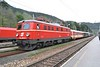 30 April 2006 :: Vintage loco and stock had worked the 0825 from Vienna Meidling to Payerbach-Reichenau running as Erlebniszug Zauberberge and is pictured at Payerbach-Reichenau