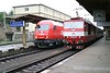 29 April 2006 :: At Bratislava hlavná stanica Austrian railways meets the local Slovakian trains. ÖBB  diesel 2016 022 is alongside ZSSK electric 263 003