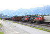 5 June 2013 :: An empty westbound freight at Jasper with CN ES44DC no. 2245 along with SD75I no. 5738