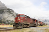 17 September 2011 :: A west bound Canadian Pacific grain train passes Banff with AC44CW's 9595 and 9529