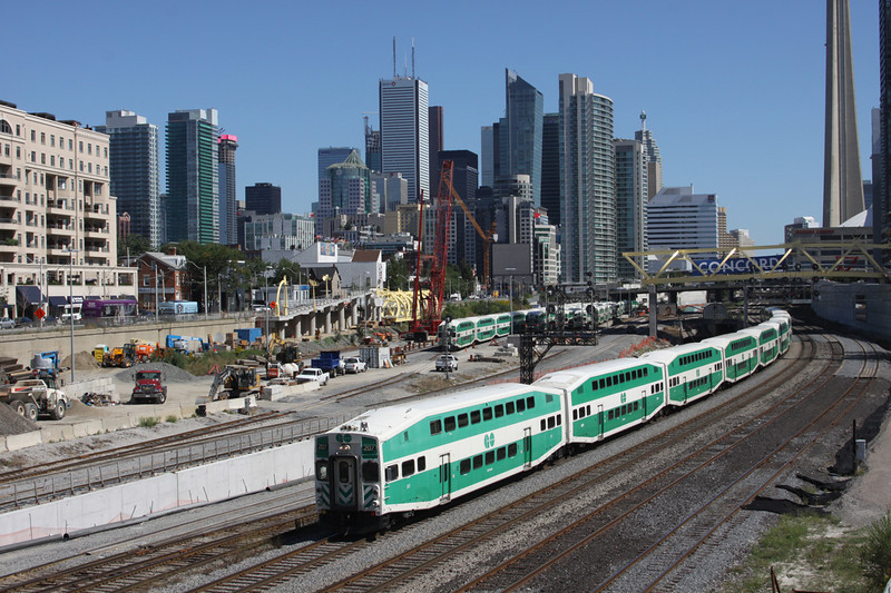 9 September 2011 :: A GO (Government of Ontario) train consisting of Double Deck stock heads west having just departed from Toronto Union Station