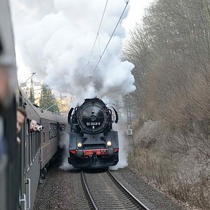 8 April 2018 ::  An exhilarating view of 2-10-0 No. 50 3648 accelerating past the passenger train