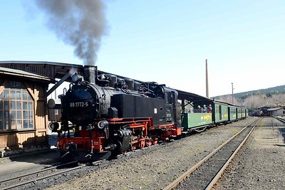 9 April 2018 ::  At the Fichtelbergbahn, a 750 mm gauge line, 2-10-2T No. 99 1772 stands at Cranzahl with the 1132 to Kurort Oberwiesenthal.  The train included an open coach behind the locomotive which was extremely pleasant to ride in on such a glorious day