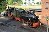 28 July 2012 :: 3 Mallets at Wernigerode.  Visiting Swiss 105 together with green 99 5902 and black 99 5901