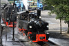 29 July 2012 ::  Swiss 0-4-4-0 T Mallet compound articulated locomotive 105 which is a visitor from the Blonay-Chamby railway in Switzerland takes water at Wernigerode