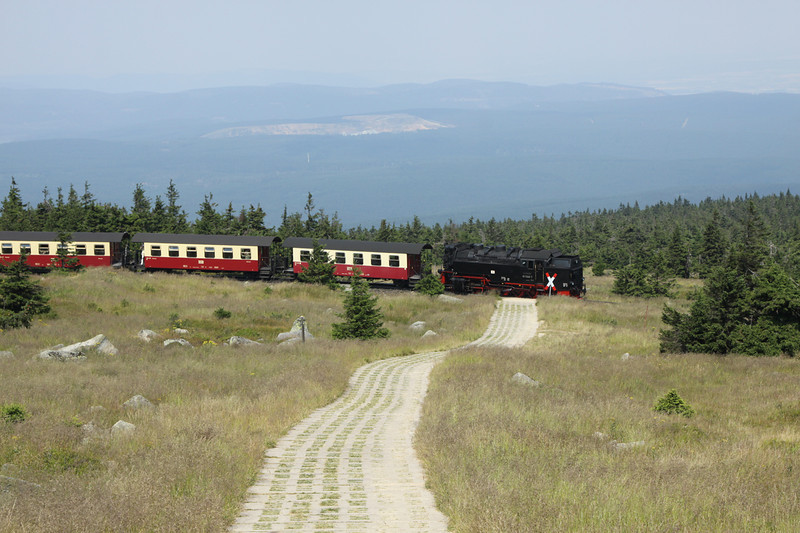 27 July 2012 :: 2-10-2, 99 7240 has just departed from Brocken station with the 11.36 to Wernigrode