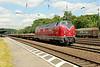 1 July 2014 :: 221 122 in EfW Verkehrsgesellschaft livery passes through Köln West.  This is a second-hand German V200.1 BB diesel locomotive