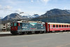 14 September 2013 :: Another view of Class Ge 4/4 II locomotive No. 619 in Bernina line Centenary colours (1910 - 2010) at Samedan