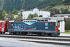 14 September 2013 :: Stabled at Samedan is Class Ge 4/4 II locomotive No. 619 showing the Centenary of the Bernina line (1910 - 2010) with the Hotel Bernina immediaetly behind the locomotive