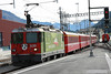 14 September 2013 :: Class Ge 4/4 II locomotive No. 630 in colours celebrateing the centenary of the railway between Chur and Disentis (1912 - 2012) working the 15.34 from Scoul-Tarasp to Pontresina as it departs from Samedan