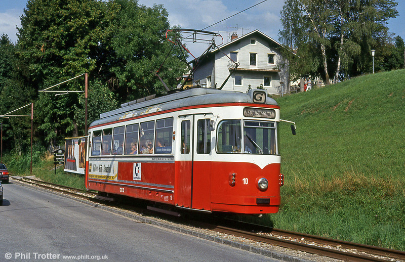 Stern & Hafferl's Gmunden Tramway links the rail station with the town centre. On 11th August 1992 car 10 (ex-Vestische 341) of 1952 vintage is seen in service.