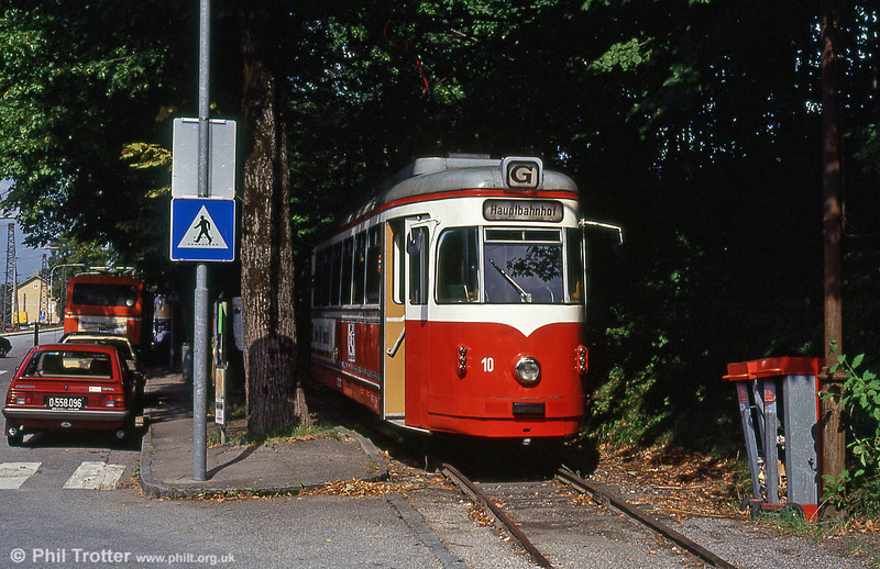 Gmunden 10 (ex-Vestische 341) at the Rail Station on 11th August 1992. Car 10 entered service on the Gmunden tramway in 1983, fitted with full pantograph and magnetic track brakes