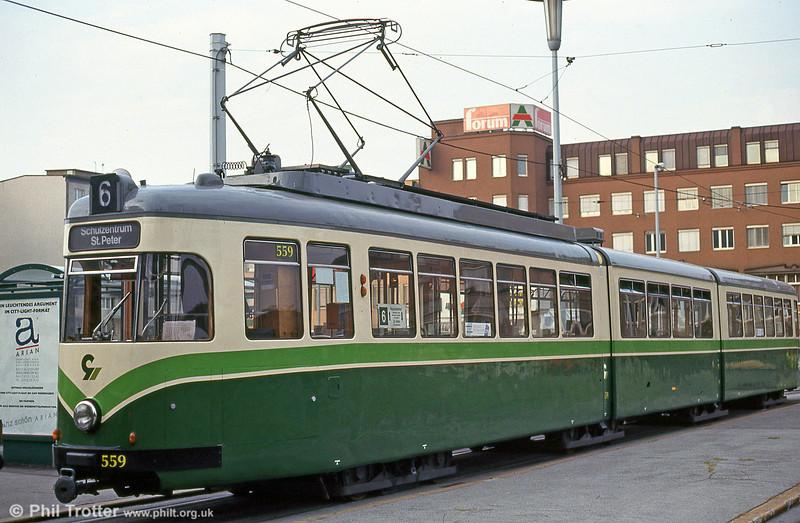 Car 559 near the Hauptbahnhof on 13th August 1992.
