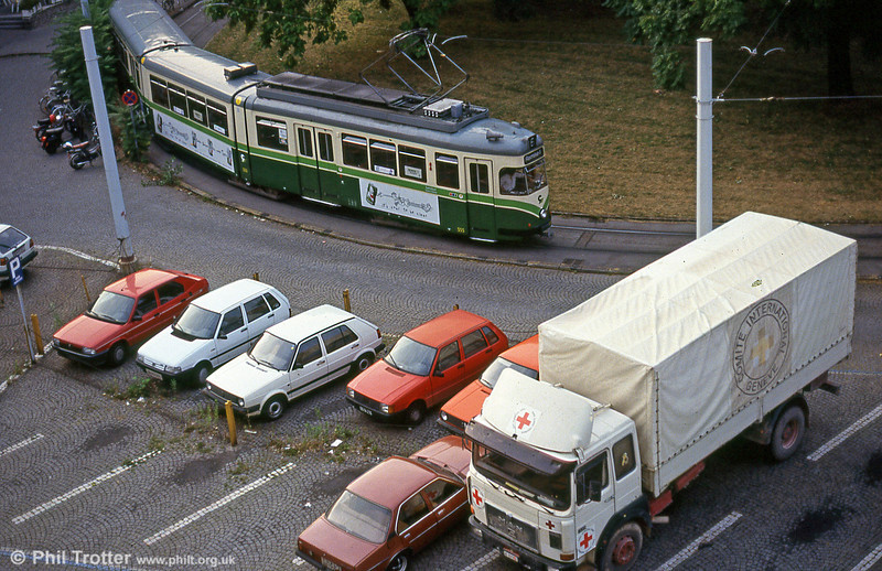 Car 555 near the Hauptbahnhof on 13th August 1992. The Red Cross truck was heading to the former Yugoslavia with aid.