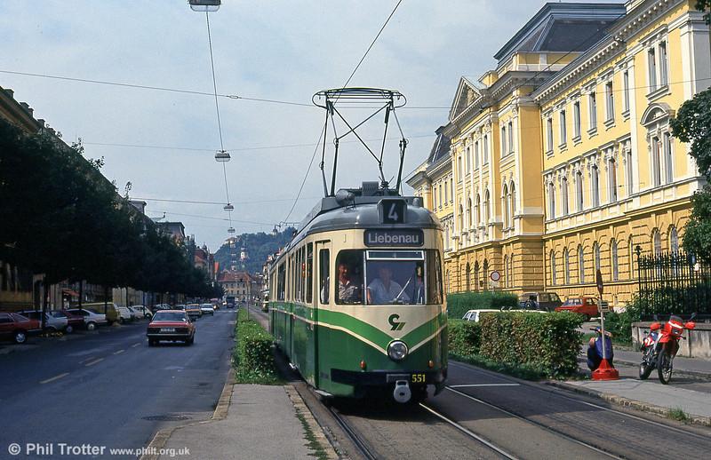 Ex-Wuppertal car 551 of 1954 at Liebenau on 13th August 1992.