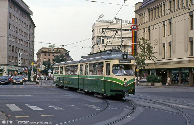 Car 570 near the Hauptbahnhof on 13th August 1992.