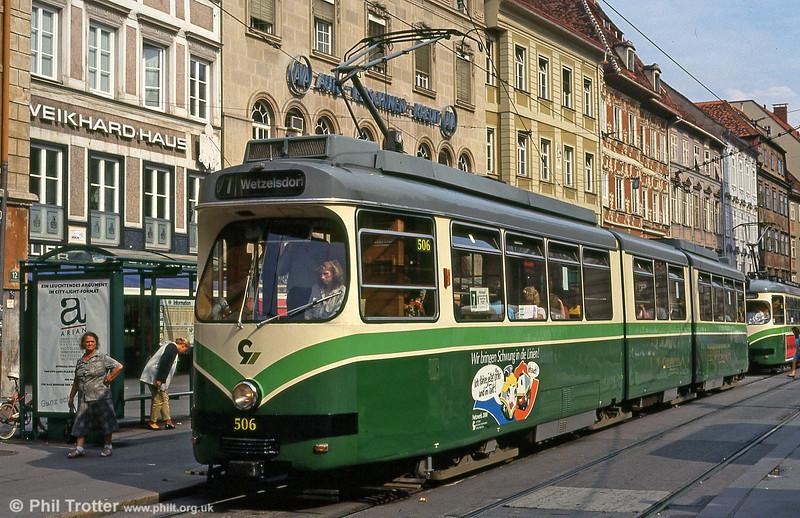 Car 506 at Hauptplatz on 13th August 1992.