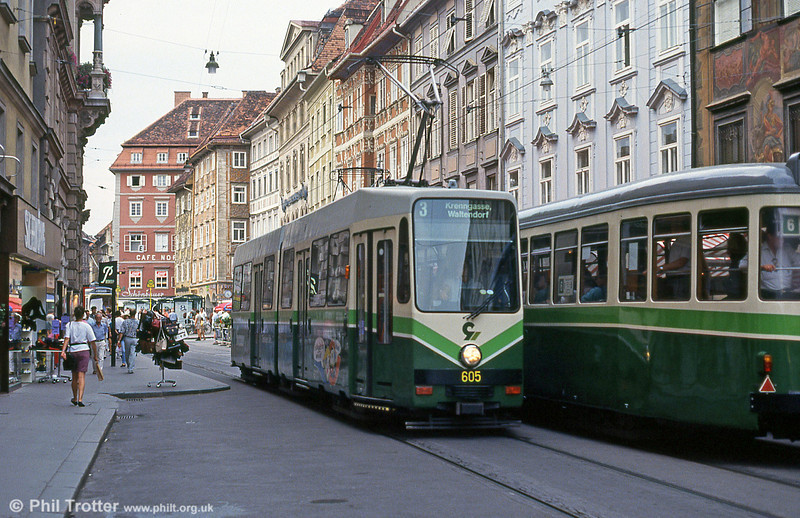 Graz 605 in Hauptplatz, 13th August 1992