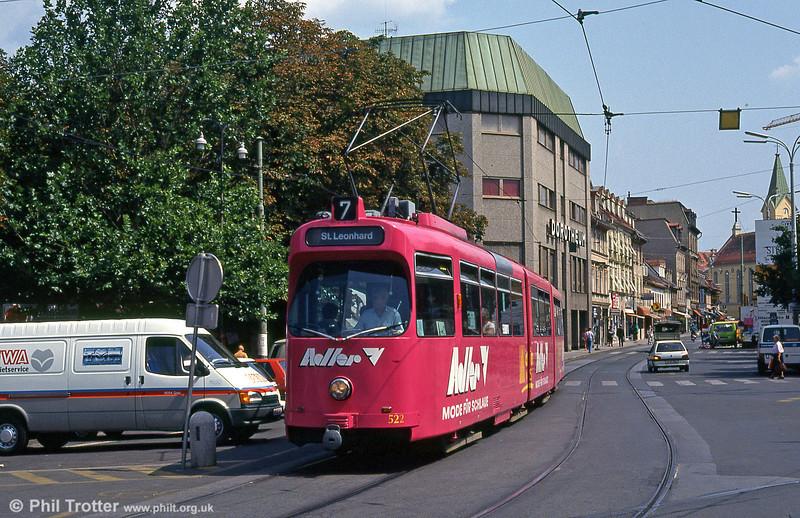 Car 522 at Jakominiplatz on 13th August 1992.