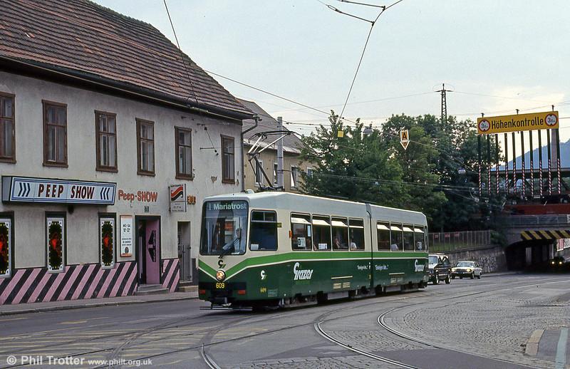 Car 609 near the Hauptbahnhof on 13th August 1992.