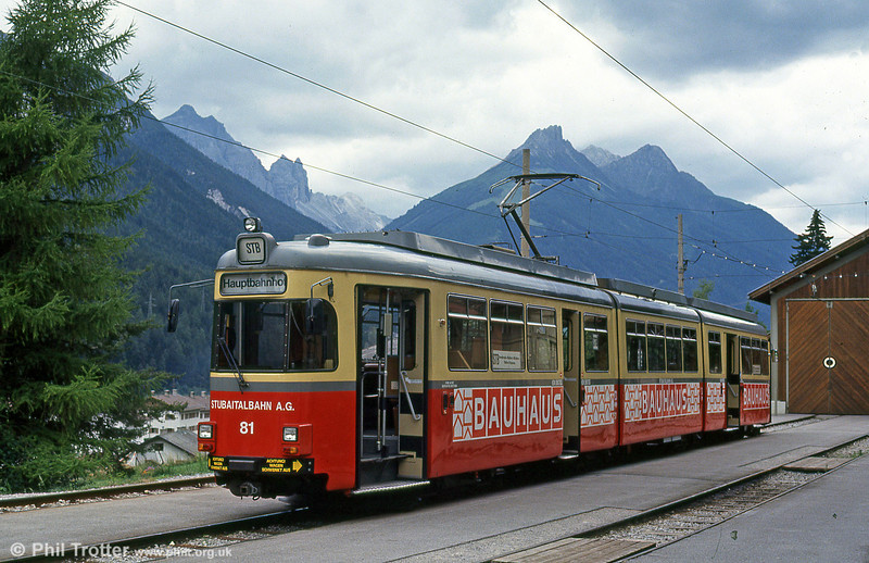 The most impressive tram terminus in Europe? Probably. Innsbruck Stubaitalbahn car 81 at the Fulpmes terminus of the Stubaitalbahn on 10th August 1992. The Stubaitalbahn is a metre gauge line which runs between Innsbruck and Fulpmes.