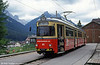 Innsbruck 81 at the Fulpmes terminus of the Stubaitalbahn on 10th August 1992. The line is single track,18.2 km in length with 53% of the track on curves with the longest straight section just 270 metres. The steepest gradient is 1 in 45 and the smallest radius curve is 40 meters. The highest point is near Telfes Bahnhof at 1006 metres above sea level.