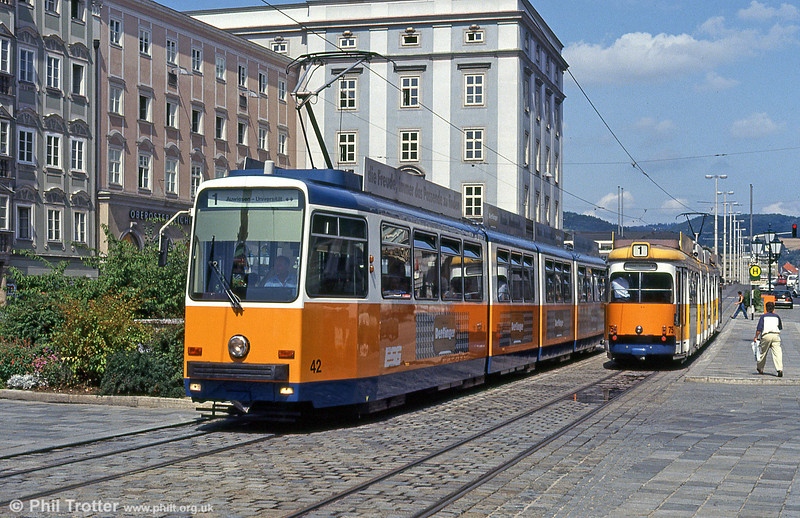 Car 42 at Hauptplatz on 12th August 1992. Cars 41 to 56 were built by Rotax in 1984-1986.