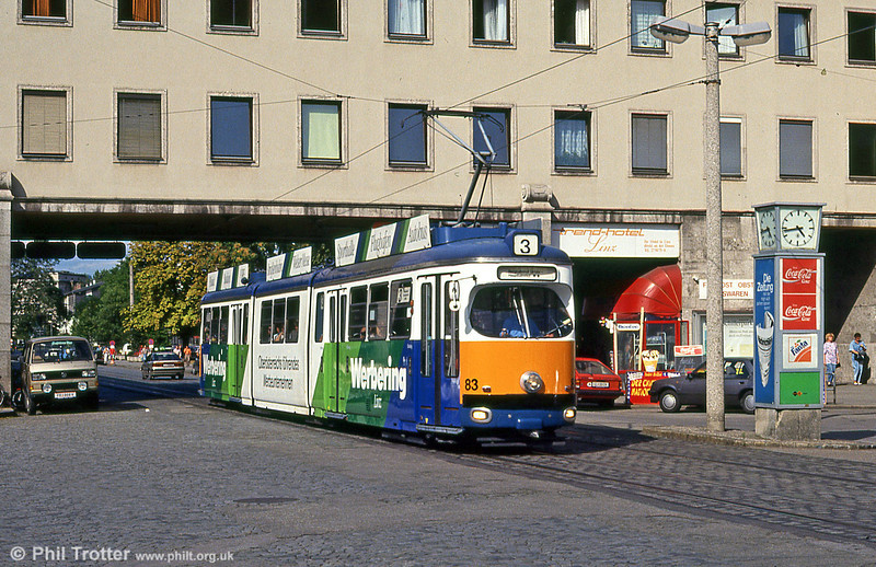 Car 83 at the Hauptbahnhof on 12th August 1992. Cars 81 to 88 were built by Lohner in 1970-1972.